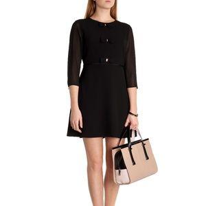 NWT Ted Baker Finna Bow Detail Black Dress